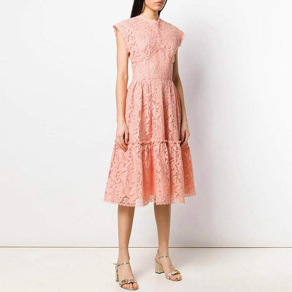 Zoom Floral Waxed Lace Fit & Flare Dress Peach RRP$310 - Zoom Boutique Store