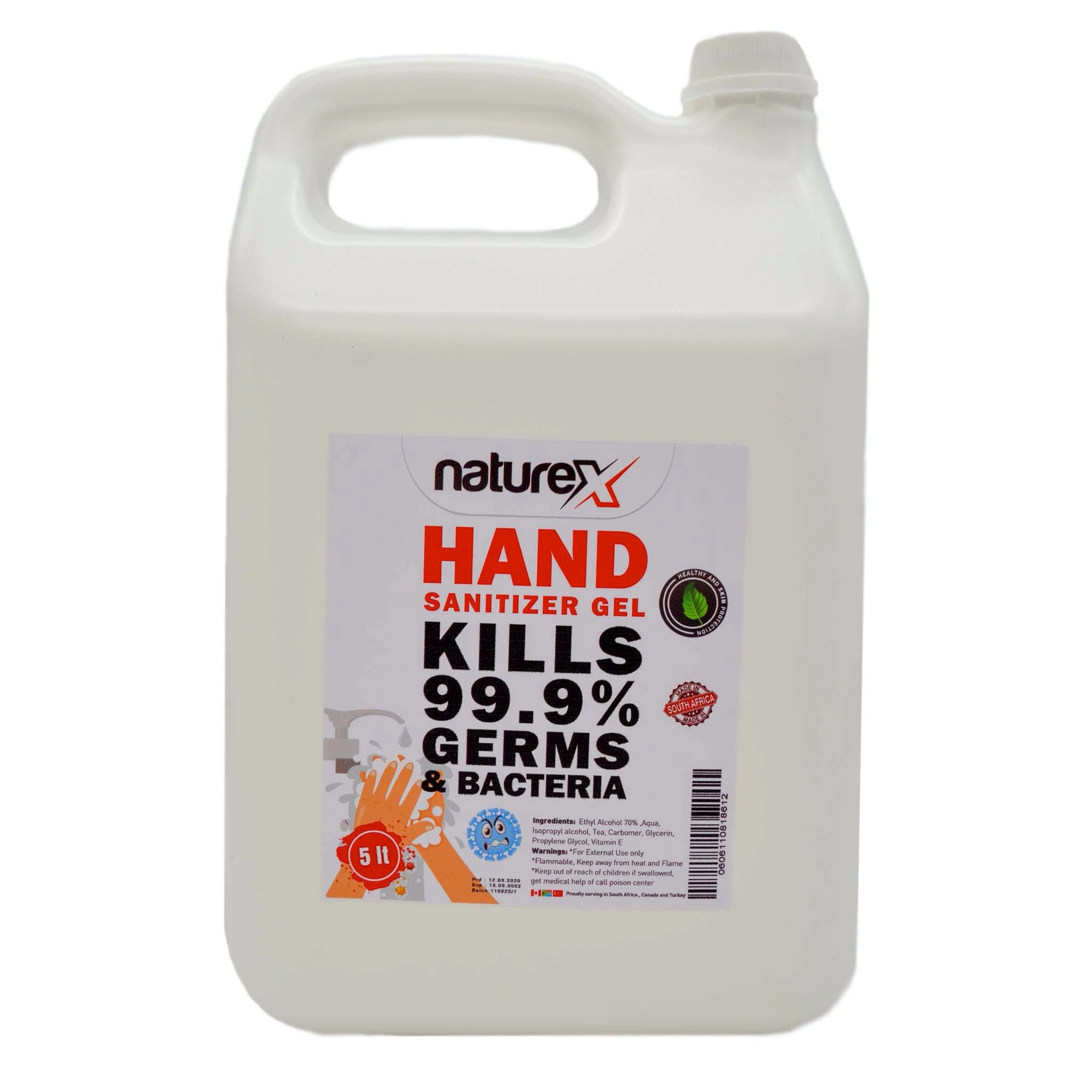 NATUREX HAND SANITIZER 70% ALCOHOL GEL- 5L