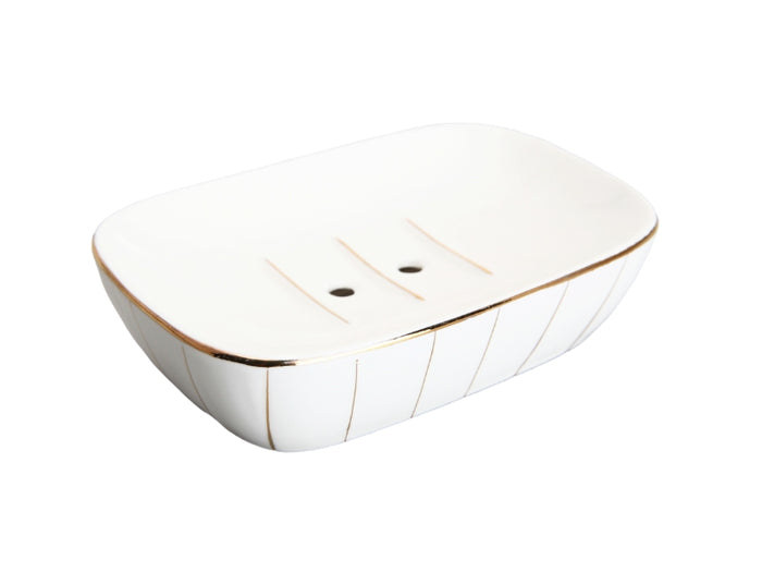 Stripe Soap Dish White  One Size