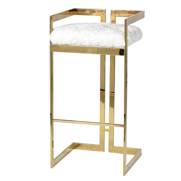 Gold Furry Barstool H:850mm W:430mm D:410mm