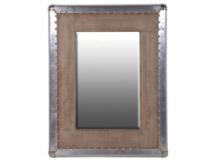 SILVER TRIM STUDDED WOODEN MIRROR 0  H: 900mm W: 700mm