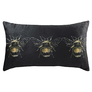 Gold 30x50cm Feather Filled Cushion Black
