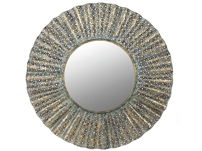 Distressed Metal Round Wave Mirror 0  Dia: 810mm
