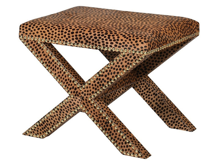 Leopard Print Hide Cross Stool 0 H: 460mm W: 550mm D: 400mm