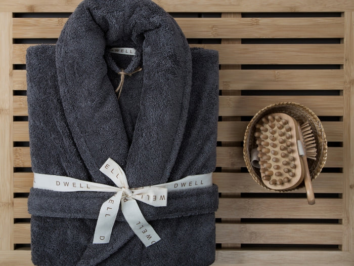 Toweling 530GSM Bath Robe Grey S/M