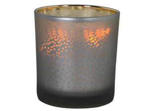 GREY MOTTLED T-LIGHT HOLDER 0  80mmHeight 70mmDiameter