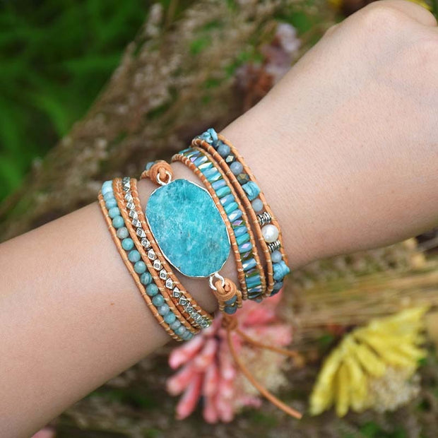 Multilayer leather natural stone and beads boho wrap bracelet