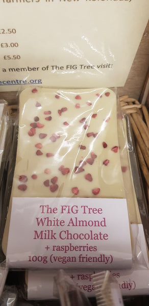 White Almond Milk Chocolate + Raspberries 100g
