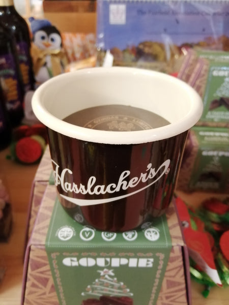 Hasslacher's enamel hot chocolate mug