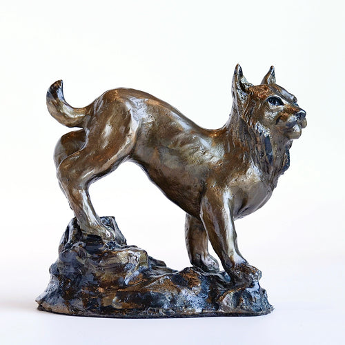 Bronze bobcat sculpture by Locals artist Jeanie Stephenson