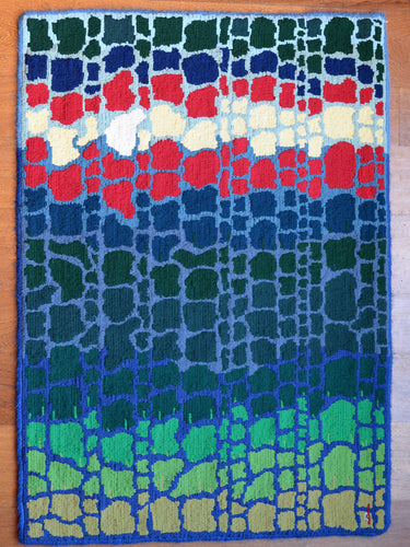Hand hooked wool rug by Locals artist Charlie Dalton