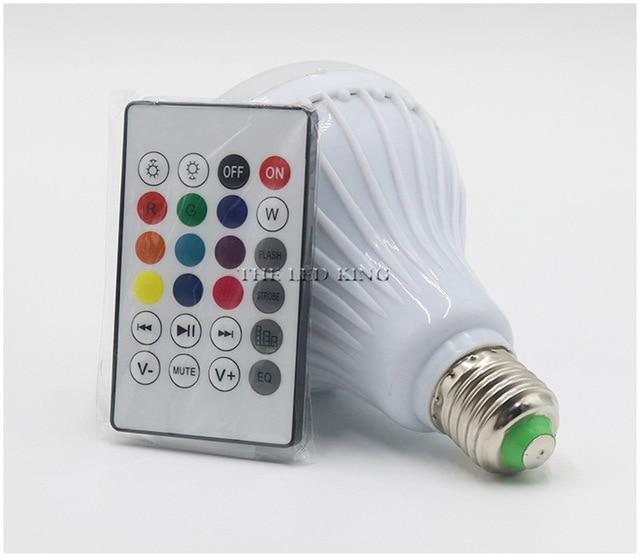 1 x Smart E27 LED RGB Bulb 12W Wireless Bluetooth Speaker Music Playing Audio Dimmable Light Lamp with 24 Keys Remote Controllor - nerdygeektoys.com