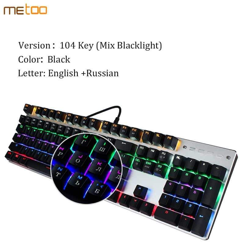 Computer Keyboard 87/104 Anti-ghosting Luminous Blue Black Switch Backlit - nerdygeektoys.com