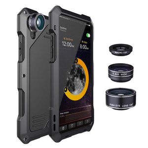 4 in 1 Phone camera Lens Fisheye Wide Angle Macro For iPhone X XS 6 6s 7 8 Plus Metal Case - nerdygeektoys.com