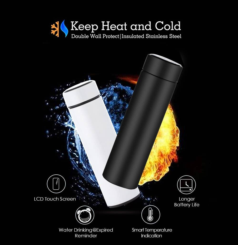 LED Temperature Display Bottle Stainless Steel Thermos Tea Filter - nerdygeektoys.com
