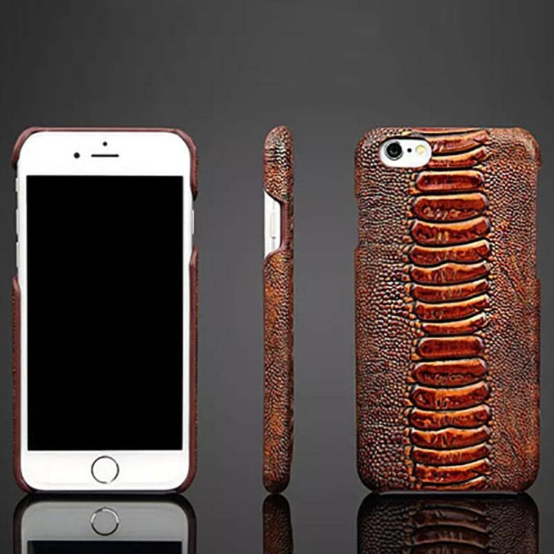 Luxury real leather ostrich mobile phone case for iPhone - nerdygeektoys.com