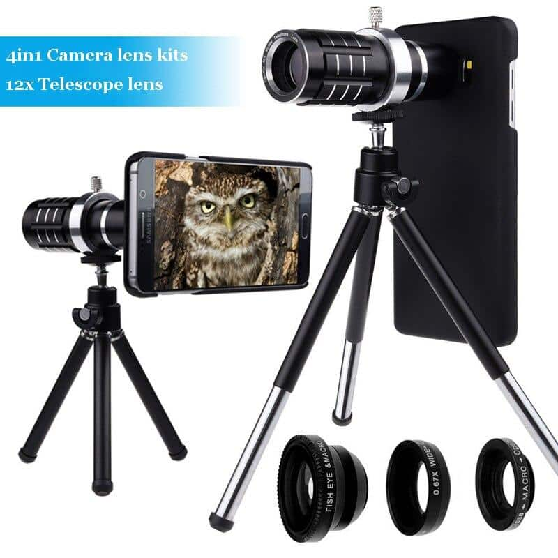 Photograpphy Kits:Telescope Zoom Camera Tripod+Case+Four Awesome Lenses For iPhone - nerdygeektoys.com