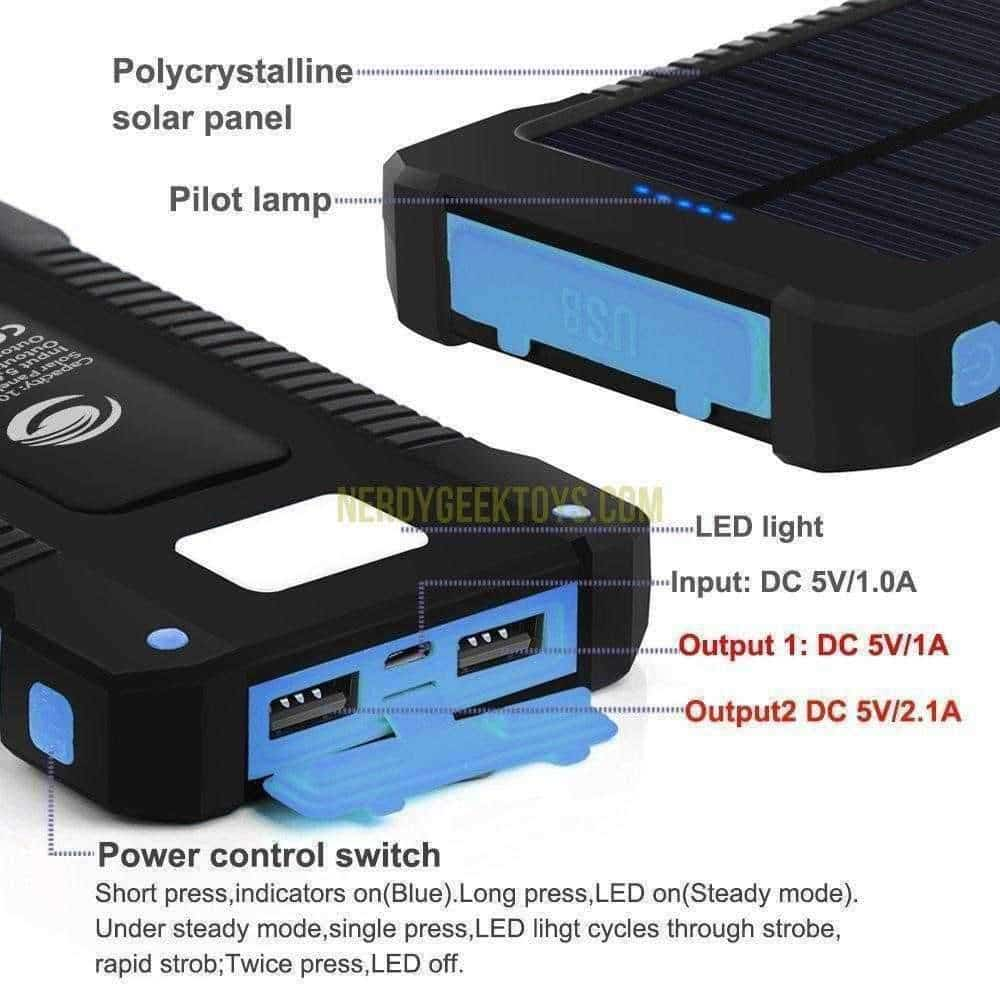 Solar Power Bank 10000mAh Double USB Solar Batterycharger - nerdygeektoys.com