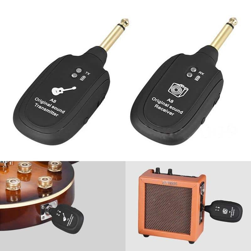 UHF Guitar Wireless System Transmitter Built-in Rechargeable Receiver - nerdygeektoys.com