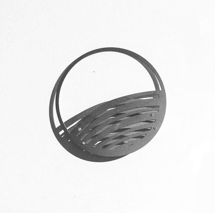 SILVER SATURN BROOCH