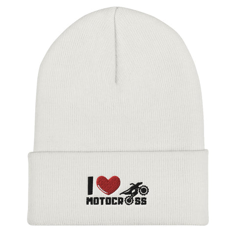 I Love Motocross Cuffed Beanie