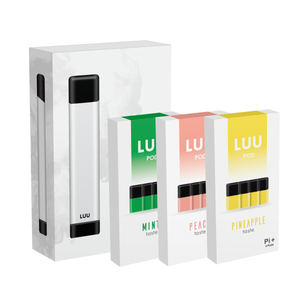 LUU device box with mint pod pack, peach pod pack, pineapple pod pack