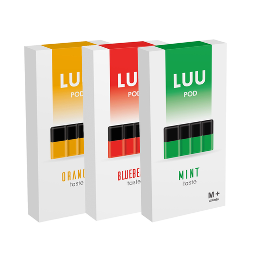 LUU nicotine free juice pod packs orange blueberry and mint