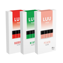 Load image into Gallery viewer, LUU nicotine free juice pod packs blueberry mint and peach