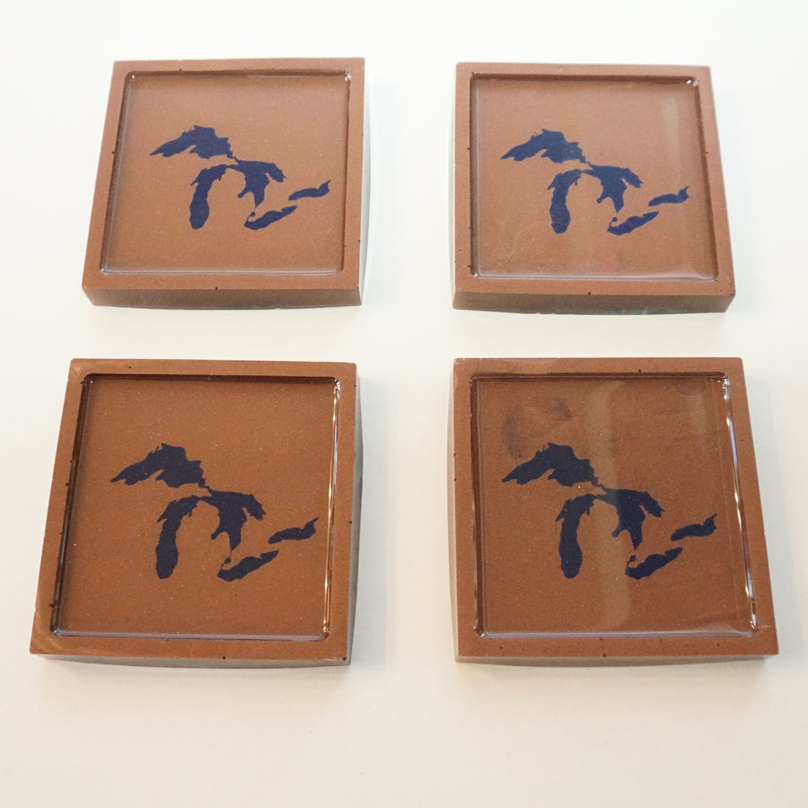 Great Lakes Coasters - Resin with Copper