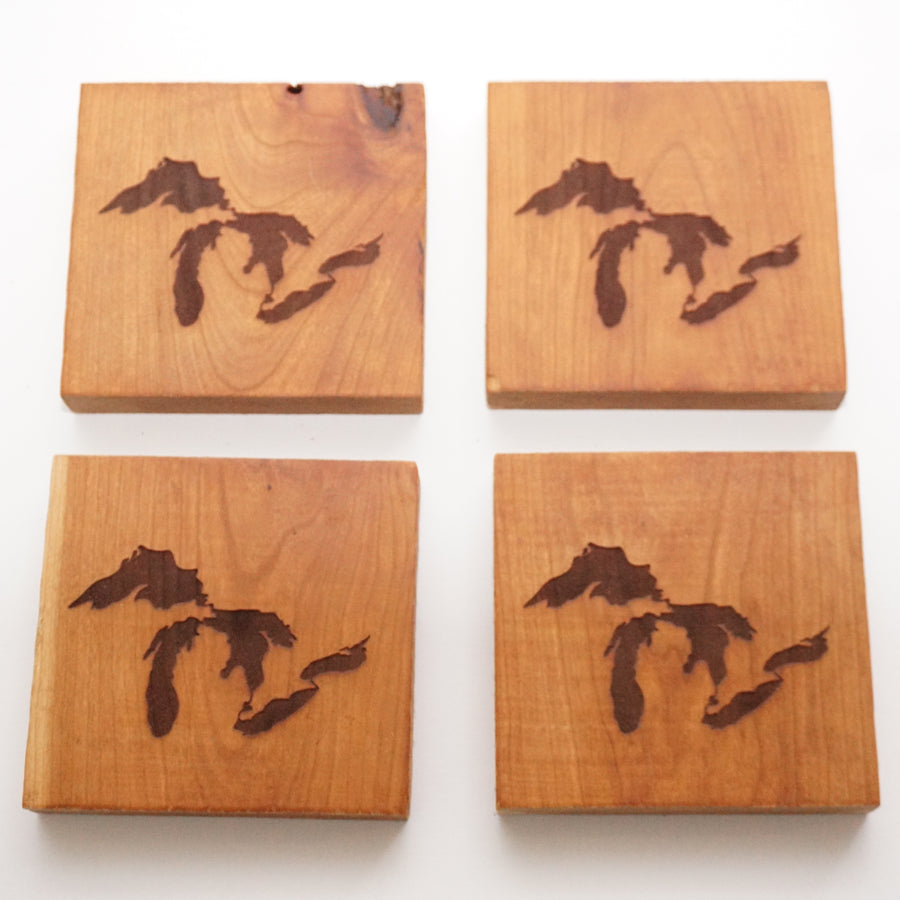 Great Lakes Michigan Cherry Coasters Set