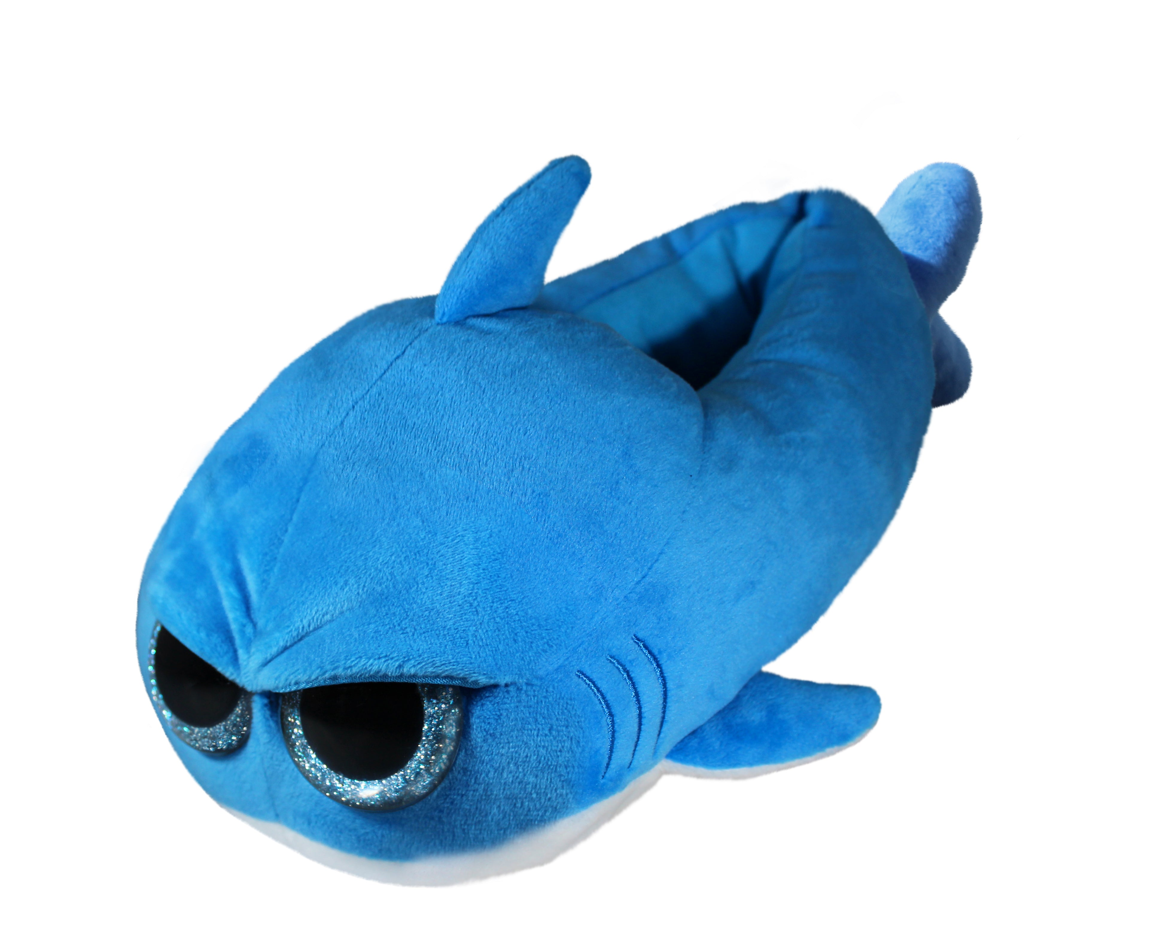 Little Grumpy Sharks - Cutest Funniest Plush Slippers for Adults, Grownups and Kids - Soft and Comfy Blue