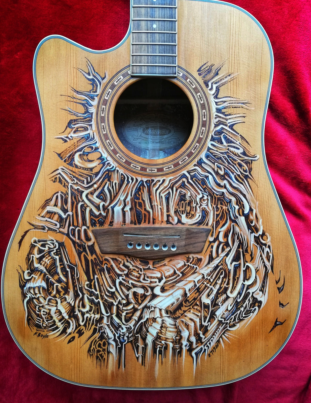 270920 Unique KBoyle Artwork on Washburn L/H Guitar  ***COMPETITION***
