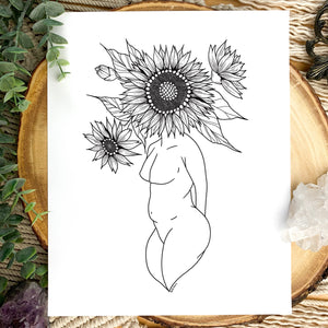 Sunflower Plant Lady Print