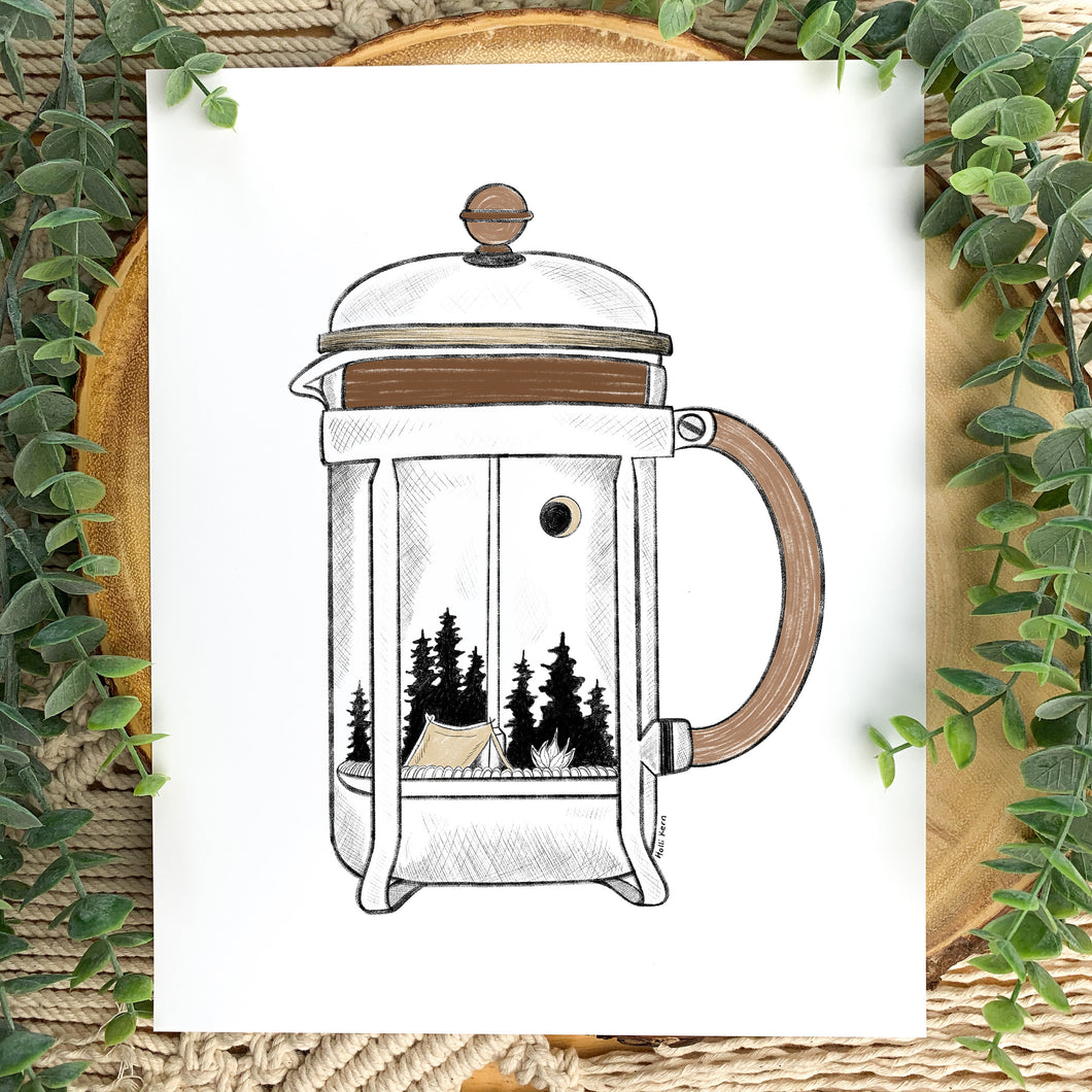 French Press Camping Print