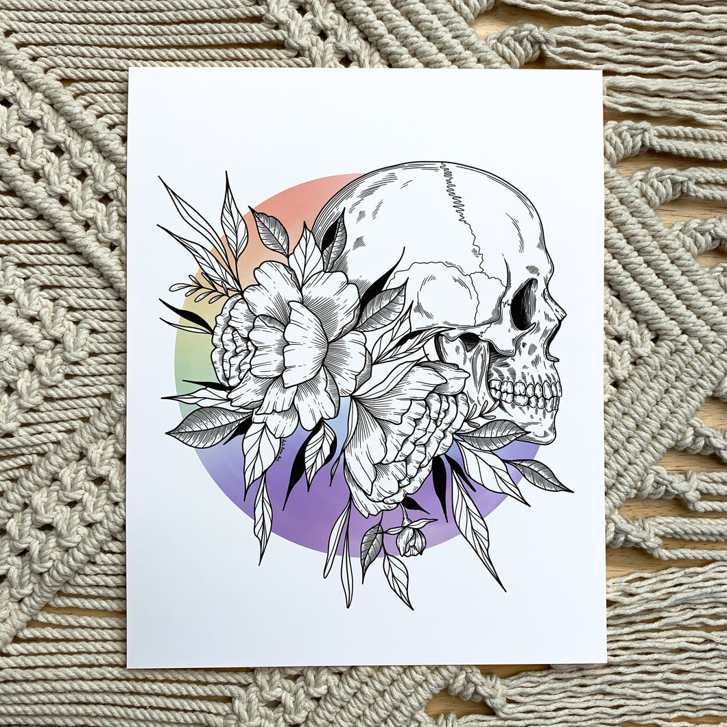 Skeleton Rainbow Print