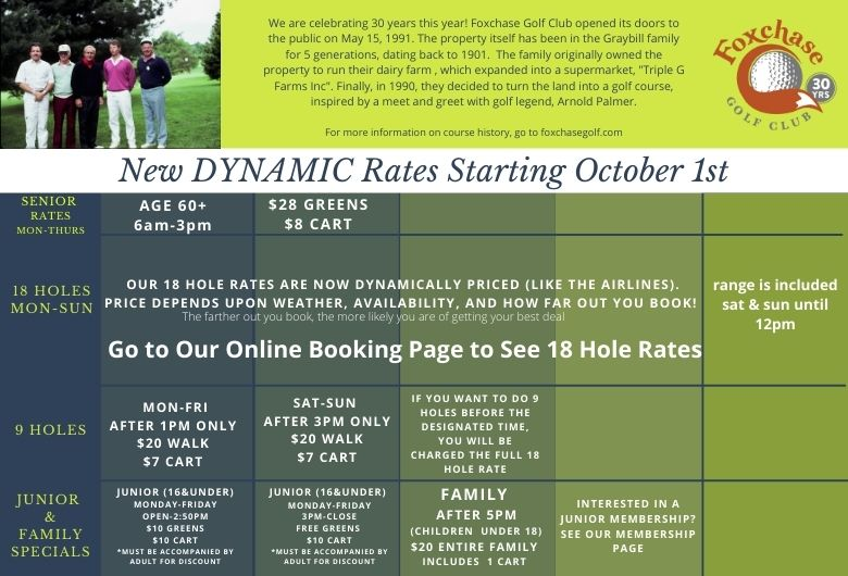 Golf Course Tee Time Rates: Foxchase Golf Club, Lancaster County, PA