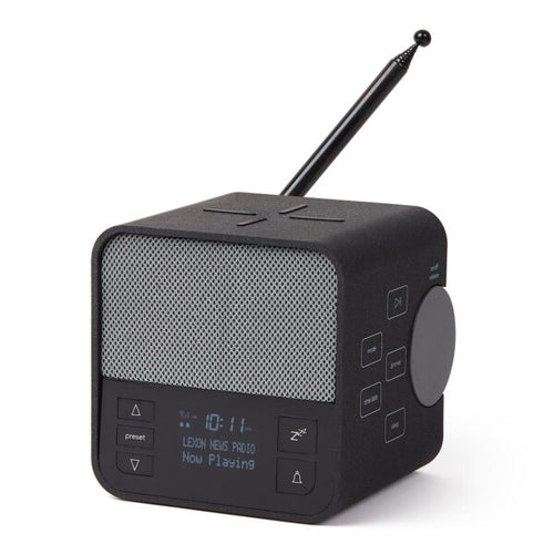 Radiosveglia con caricabatterie wireless e speaker bluetooth Lexon Oslo + antracite
