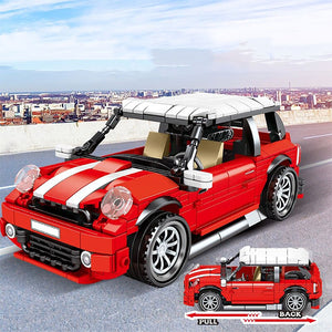 557 pcs Red Pull Back Racing Car Brick Toy for kids