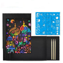 Load image into Gallery viewer, Graffiti Stencil Drawing Stick Rainbow Scratch Art for Kids