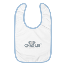 Laden Sie das Bild in den Galerie-Viewer, Charlie The Elephant Pillow™ Embroidered Baby Bib babycalm.co White / Light Blue