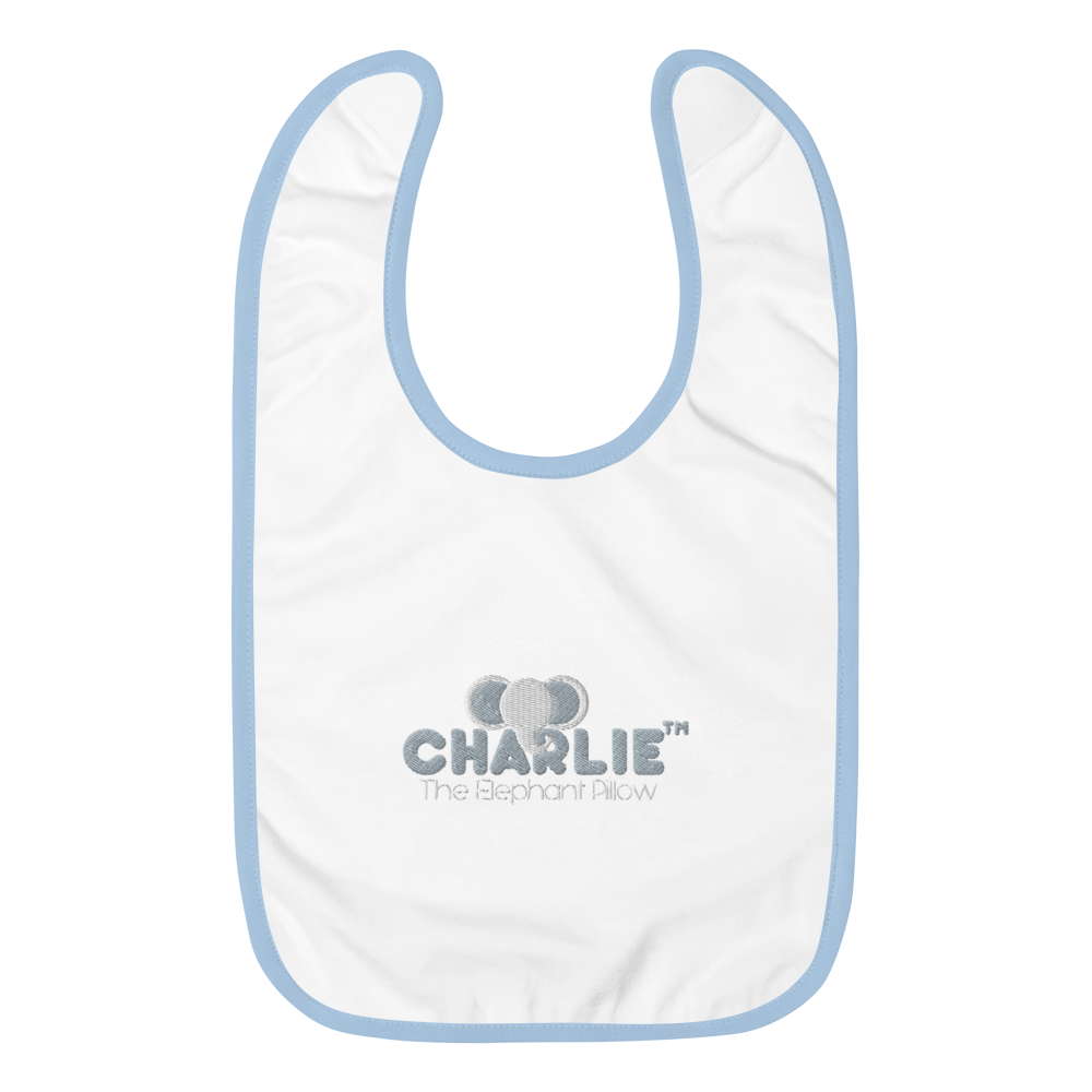 Charlie The Elephant Pillow™ Embroidered Baby Bib babycalm.co White / Light Blue