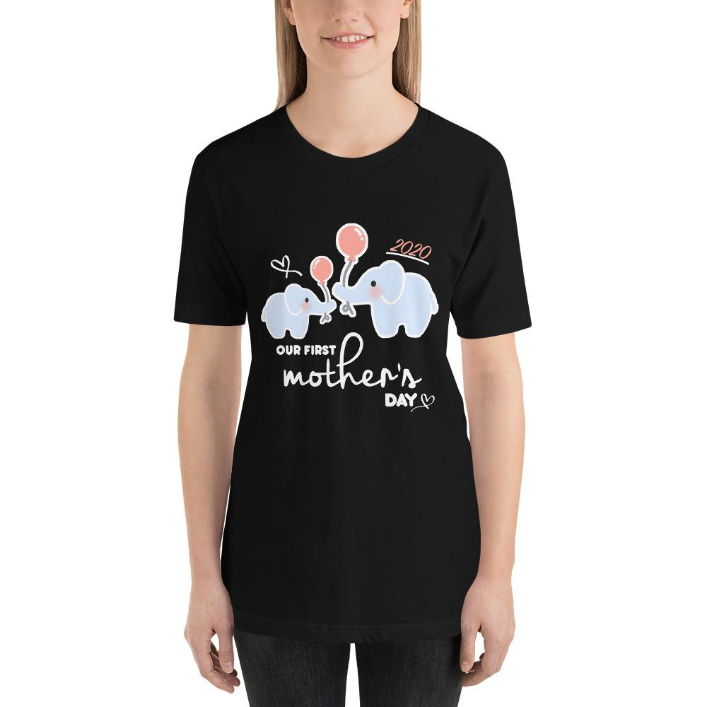 Our First Mother's Day Shirt babycalm.co Black XS