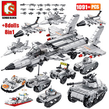 Laden Sie das Bild in den Galerie-Viewer, SEMBO Military Armoured Vehicle Tank Model Building Blocks WW2 City Police Antiaircraft Warship Figures Bricks Kids Toys