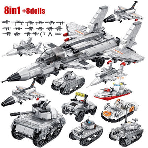SEMBO Military Armoured Vehicle Tank Model Building Blocks WW2 City Police Antiaircraft Warship Figures Bricks Kids Toys