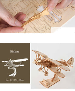 Sailing Ship, Train, Airplane 3D Wooden Assembly Toy for Kids