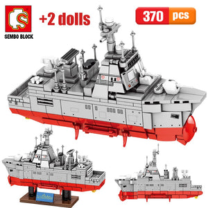 City Military Battleship Model Building Blocks WW2 Technic Warship Boat MOC Figures Bricks Educational Toys for Children Gifts