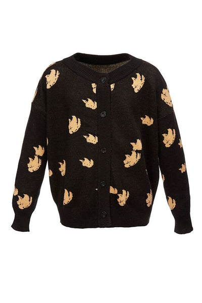 The Knitted Cardigan Leopard Sequins Details