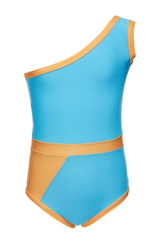 The Graphic swimsuit blue orange