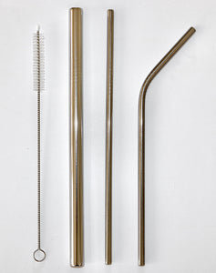 Silver Metal Straw Set