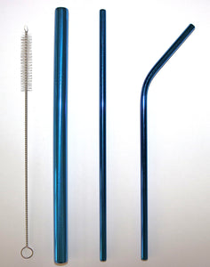 Blue Metal Straw Set